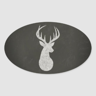 Deer With Antlers Chalk Drawing Oval Sticker