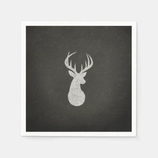Deer With Antlers Chalk Drawing Paper Napkin
