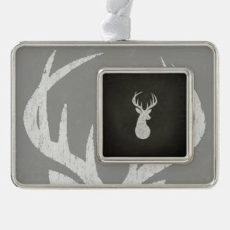 Deer With Antlers Chalk Drawing Silver Plated Framed Ornament