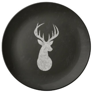 Deer With Antlers Chalk Drawing Porcelain Plate
