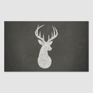 Deer With Antlers Chalk Drawing Rectangular Sticker