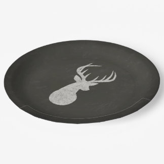 Deer With Antlers Chalk Drawing 9 Inch Paper Plate