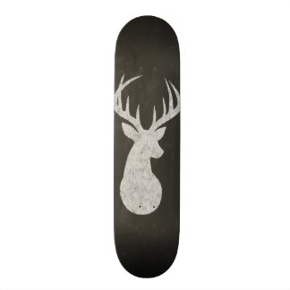 Deer With Antlers Chalk Drawing Skateboard Deck