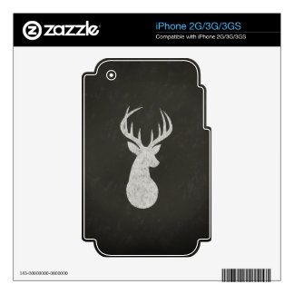 Deer With Antlers Chalk Drawing Decals For iPhone 3G