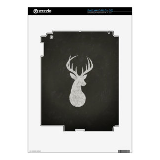Deer With Antlers Chalk Drawing iPad 2 Decal