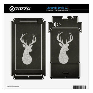 Deer With Antlers Chalk Drawing Motorola Droid X2 Decal