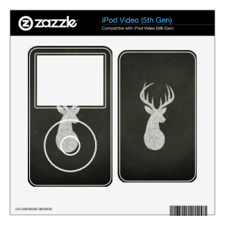 Deer With Antlers Chalk Drawing iPod Video 5G Decal