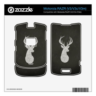 Deer With Antlers Chalk Drawing Decal For Motorola RAZR