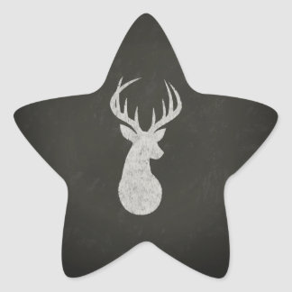 Deer With Antlers Chalk Drawing Star Sticker