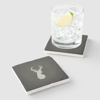 Deer With Antlers Chalk Drawing Stone Coaster