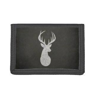 Deer With Antlers Chalk Drawing Tri-fold Wallet