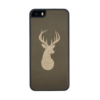 Deer With Antlers Chalk Drawing Wood Phone Case For iPhone SE/5/5s