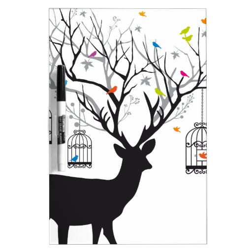 Deer with colorful birds and birdcages Dry-Erase whiteboard