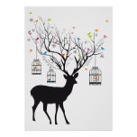 Deer with colorful birds and birdcages poster