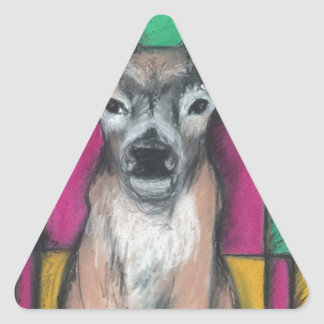 Deer with Geometric Background Triangle Sticker