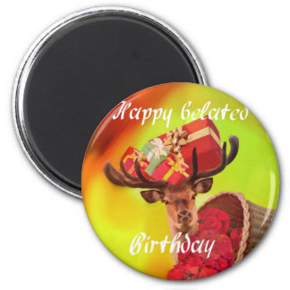 Deer with gifts in belated birthday. magnet