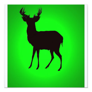 deer with green background image on invitation crd