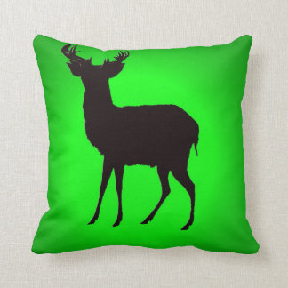 deer with green background image on pillow