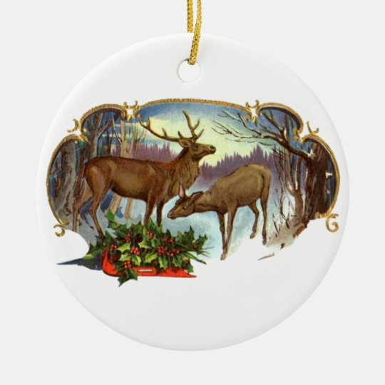DEER WITH HOLLY Ornament