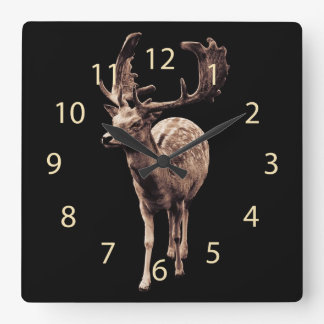 deer with large antlers square wall clock