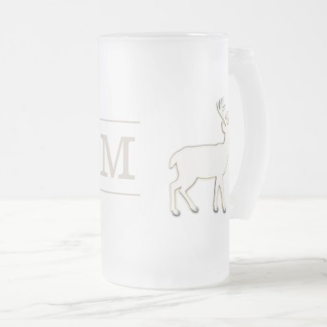 Deer with Monogram Glass Stein