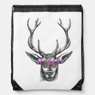 Deer with Pink Sunglasses Drawstring Bag