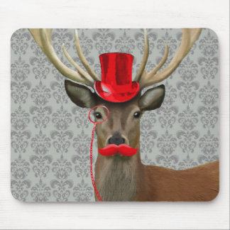 Deer With Red Hat and Moustache Mouse Pad