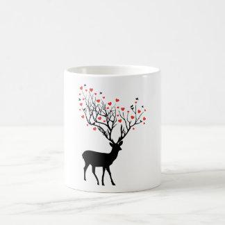 Deer with red hearts coffee mug