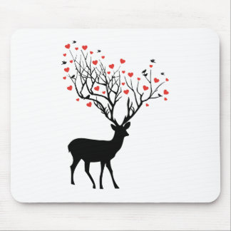 Deer with red hearts mouse pad