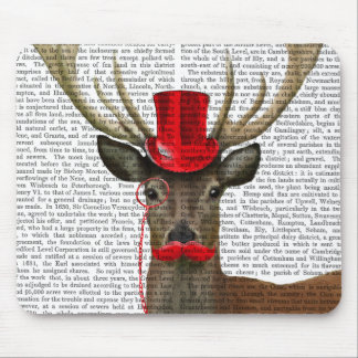 Deer with Red Top Hat and Moustache Mouse Pad