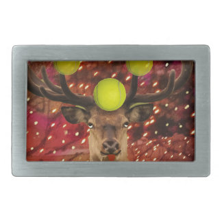 Deer with tennis balls in a shining forest . belt buckle