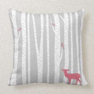 Deer with Trees Throw Pillow
