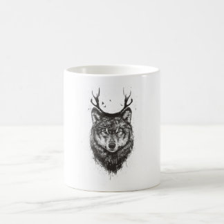 Deer wolf (black and white) coffee mug