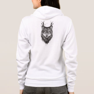 Deer wolf (black and white) hoodie