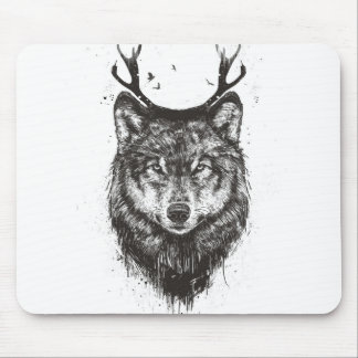 Deer wolf (black and white) mouse pad