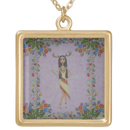 Deer Woman (Fairy Tale Fashion Series #5) Gold Plated Necklace