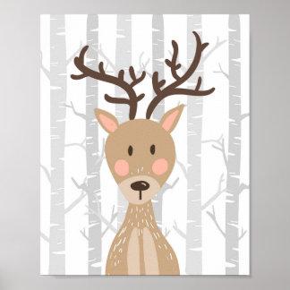 Deer Woodland Animal Nursery Wall Art Print