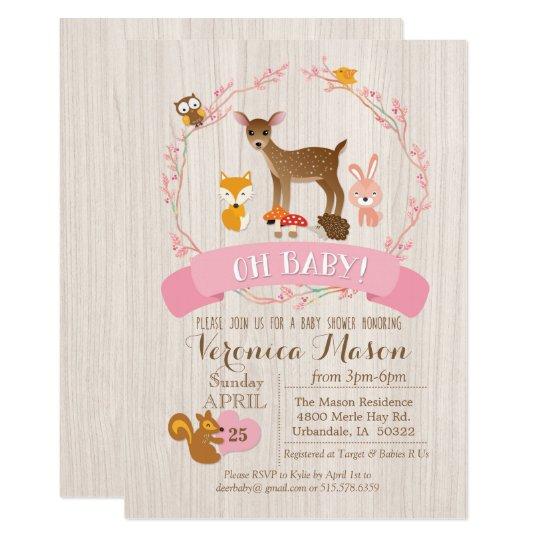 Deer Woodland Animals Baby Shower Invitation Zazzle