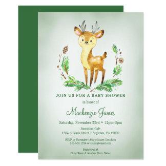Deer Woodland Baby Shower Invitation Green