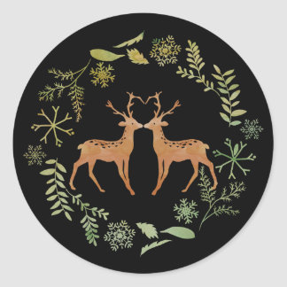 Deer Wreath Christmas Stickers
