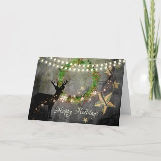 Deer, Wreath, Lights and Stars Happy Holidays Holiday Card