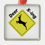 Deer X-ing Square Metal Christmas Ornament