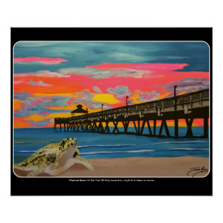 Deerfield Beach Pier Pop! painting on a Poster