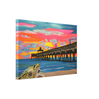 Deerfield Beach Pier Pop! painting on a wrapped ca Canvas Print