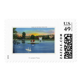 Deering Oaks Fountain and Duck House View Postage Stamp