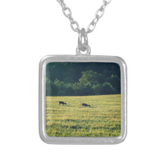 Deers Grazing Silver Plated Necklace
