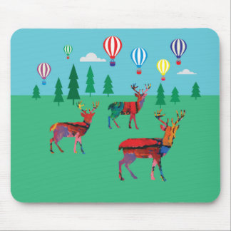 Deers & Hot Air Balloons Mouse Pad