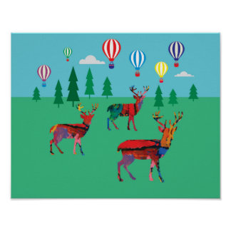 Deers & Hot Air Balloons Poster