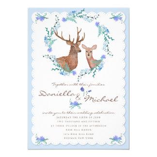 Deers in Love Woodland Winter Wedding Card