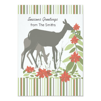 Deers Stripes and Poinsettia Groupon Card